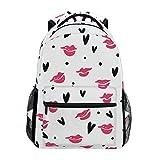 JSTEL Lipstick Kisses School Backpacks for Girls Kids Elementary School Shoulder Bag Bookbag