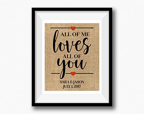 All of Me Loves All of You | Linen Print | Love Quote Wedding Gift | Gift for Wife Husband | Linen Anniversary Gift | 4th Anniversary Gift (Team Colors Personalized Invitations)