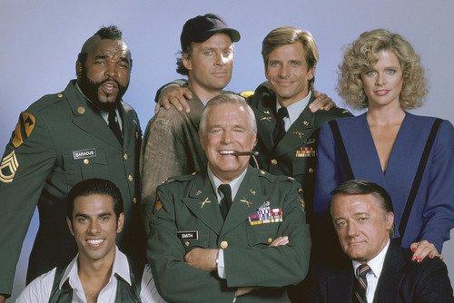 George Peppard, Dirk Benedict, Dwight Schultz, Eddie Velez, Mr. T, Robert Vaughn and Judith Ledford in The A-Link up 24x36 Poster