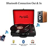 MyWave Portable Bluetooth Wireless Turntable with Built-in Stereo Speakers, 3-Speed,Vinyl-To-MP3 Recording,Both Bluetooth Transmit out & Receive in,AUX in,RCA Out,Headphone Jack,Black (Black)