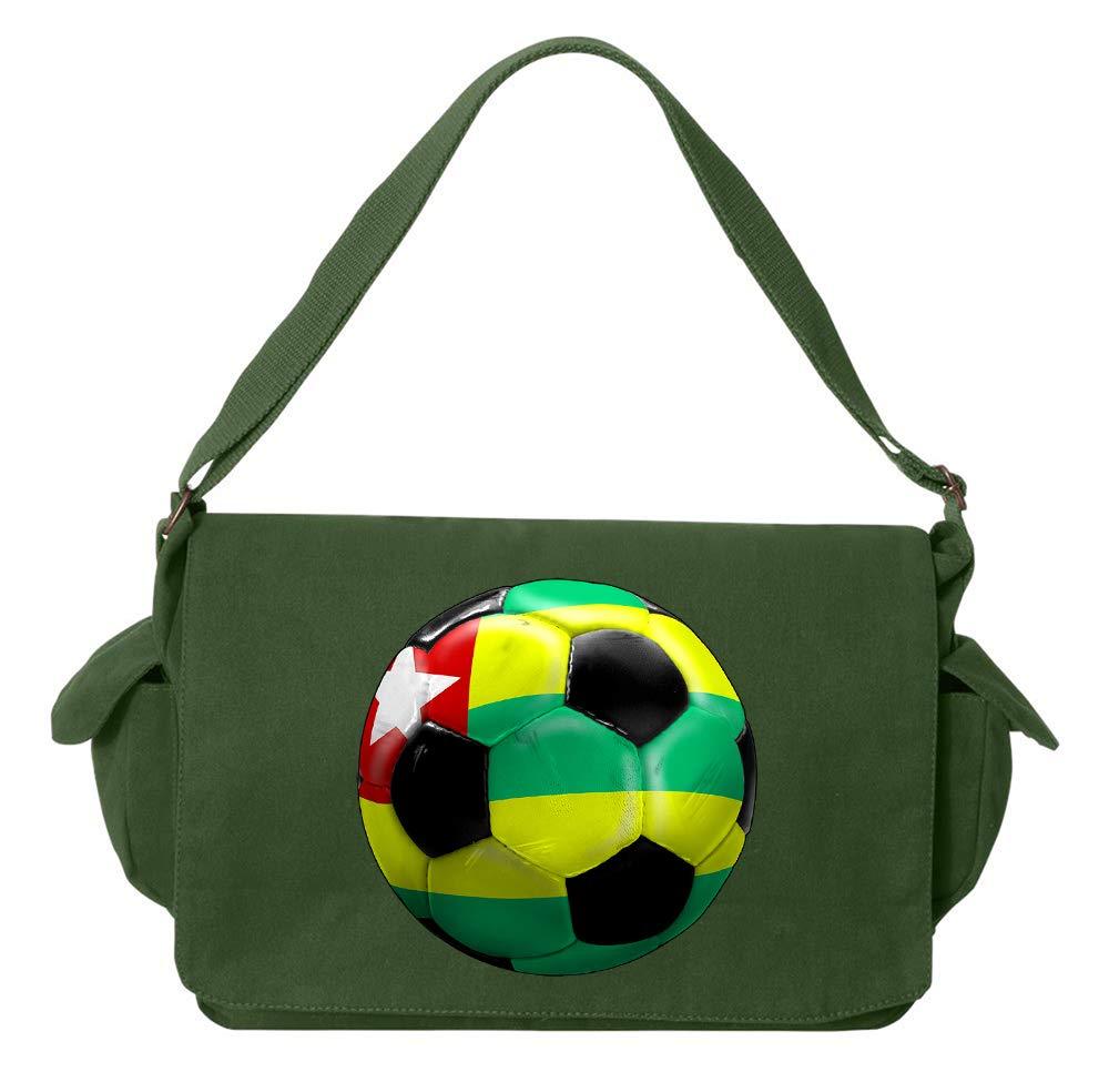 Tenacitee Togo Soccer Flamingo Raw Edge Canvas Messenger Bag
