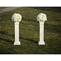 "Cloud Mountain 2 PACK Roman Venetian Decoration Wedding Ceremonies Stage Props Column Holds Flower Plates Pillars 26"" Tall, White"