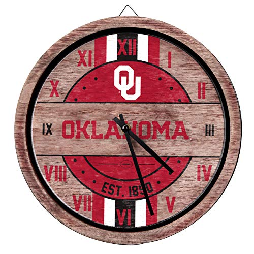 - FOCO NCAA Oklahoma Sooners Team Logo Wood Barrel Wall ClockTeam Logo Wood Barrel Wall Clock, Team Color, One Size