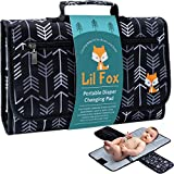 Portable Diaper Changing Pad by Lil Fox | Waterproof Portable Changing Pad for Moms, Dads and Babies | Use just One Hand; Memory Foam Baby Head Pillow; Pockets for Diapers, Wipes and Creams: more info