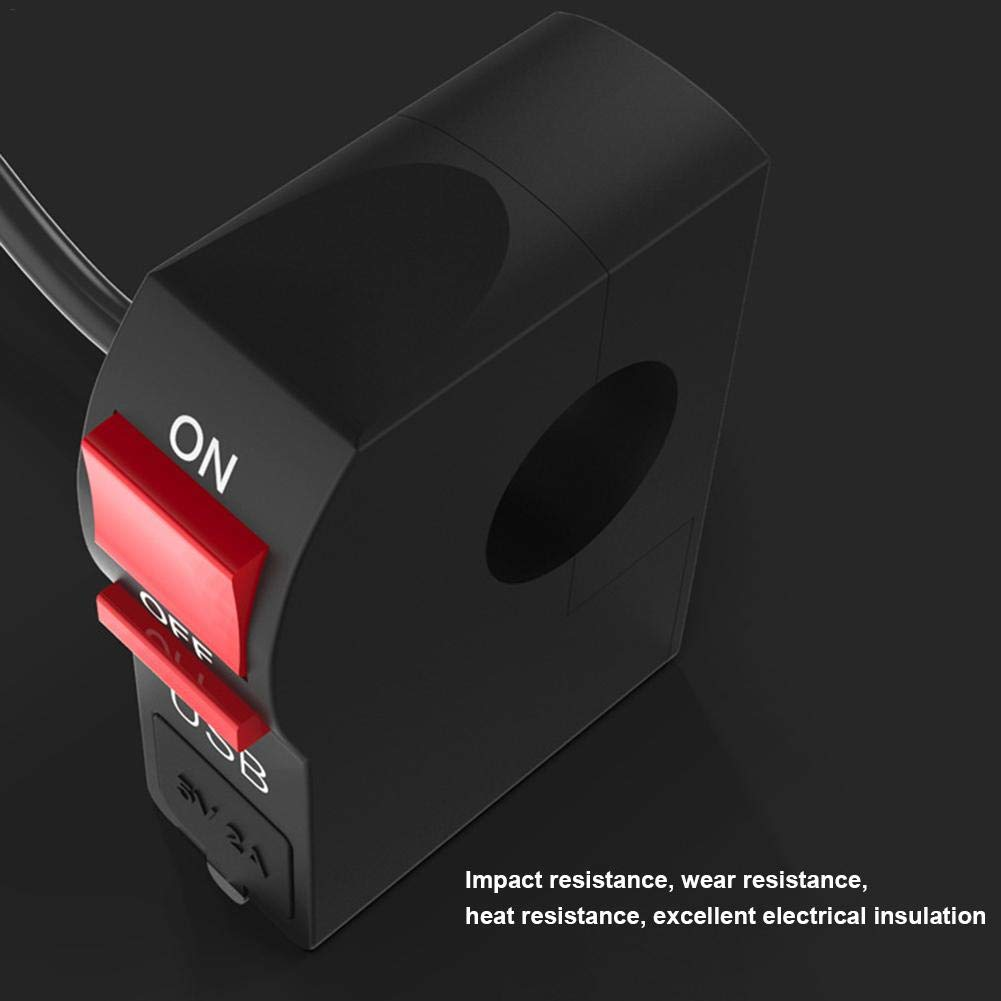 CatcherMy Motorrad USB-Handy-Ladeger/ät Adapter Kit Kabel multifunktionale schlagfest Wasserdichte Netzschalter schwarz
