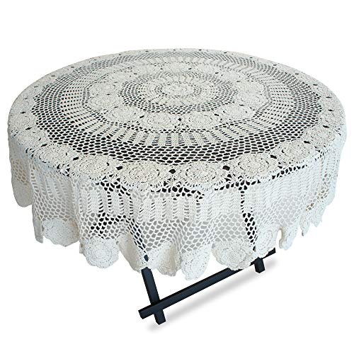 USTIDE 63-inch Round White Lace Crochet Tablecloth Sunflower Pattern Party Table Covers Knitted Crocheted - Pattern Crochet Sunflower