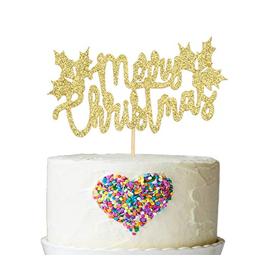 Gold Glitter Merry Christmas Cake Topper - Holiday Santa and Reindeers Cake Decorations - Happy New Year,Hello 2019 Sign