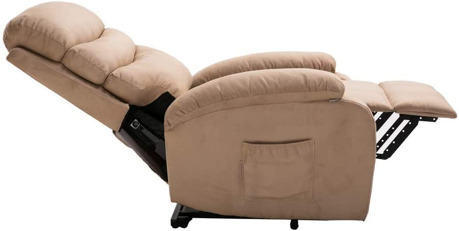 Heat Homegear Microfibre Power Lift Electric Recliner Chair w//Massage Taupe