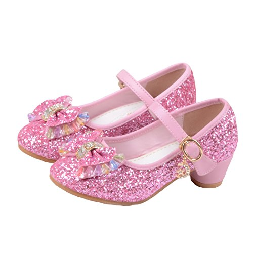 Glitter Pink Heels Shoes (O&N Kids Girls Mary Jane Wedding Party Shoes Glitter Bridesmaids Low Heels Princess Dress Shoes Pink 1 M US Little Kid)