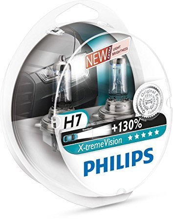 Philips X-treme Vision +130% Headlight Bulbs (Pack of 2) (H7 55W) (Xenon Bulbs 55w)