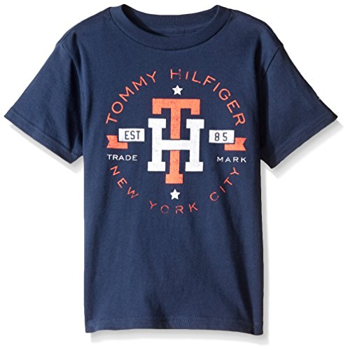 Tommy Hilfiger Denim Men's Little Boys' Tommy Hilfiger Graphic Short Sleeve Tee 4, Mood Indigo, Small/4 (Tommy Hilfiger Boy 4)