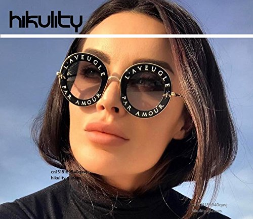 High-Season with Cute Bee Vintage Letter Designer Eyewear Frame Round Sunglasses Women 2018 Ladies Shades Gg Eyeglasses Clear Glasses Men (Black Frame,Full Grey Lens)