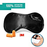 Sleeping Eye mask for sleep Men & Women,Black Silk Eye Cover sleep with FREE ear plugs & Adjustable Strap Necessary Sleep Mask in household,travel,flight Lighting Block Preventing Insomnia&Migraines