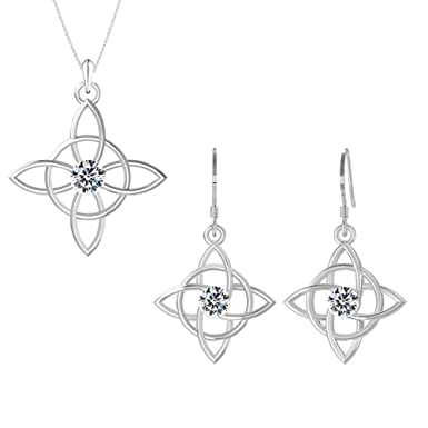 60ad343d1 Amazon.com: Swarovski Pendant Necklace Earrings Studs Sterling Silver  Celtic Knot Jewelry Set April Birthstone Diamond Color for Women and Girls:  Clothing