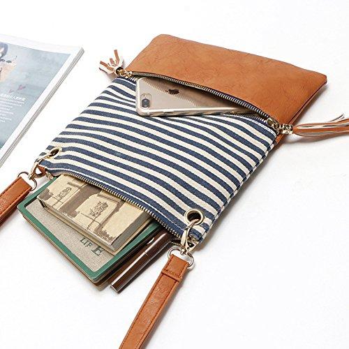 Crossbody Shoulder Bag,Messenger Bag Handbag with Double Zipper for Women Lady Girls by Ubags (Black Stripe) by Ubags (Image #3)