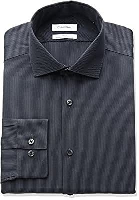 Calvin Klein Men's Non Iron Slim Fit Stripe Spread Collar Dress Shirt
