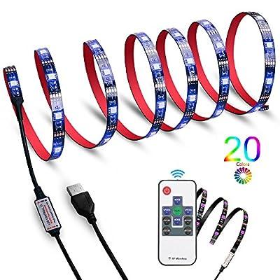 "LED TV Backlight Strip Light, HFAN USB Powered Lighting Kits X4 qty (2x 23.6"" and 2x 15.7"") with RF RGB Remote Control, Neon Accent Bias Mood Lighting RGB for TV/PC by HFAN"