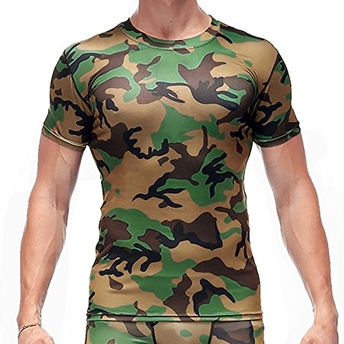 CANGHPGIN Men Sports Tights Personality Camouflage Tops Short Sleeve T-Shirt Fashion Casual Pullover (Green, Large) from CANGHPGIN