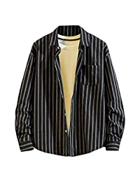 Minikoad_Men Coat Men Fashion Long Sleeve Shirt Tops, Male Plus Size Plaid Printing Loose Removable Blouse Tunic Tops Coats