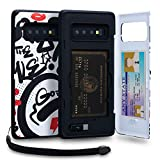 TORU CX PRO Galaxy S10 Plus Wallet Case Pattern Colorful with Hidden Credit Card Holder ID Slot Hard Cover, Strap, Mirror & USB Adapter for Samsung Galaxy S10 Plus (2019) - Graffiti