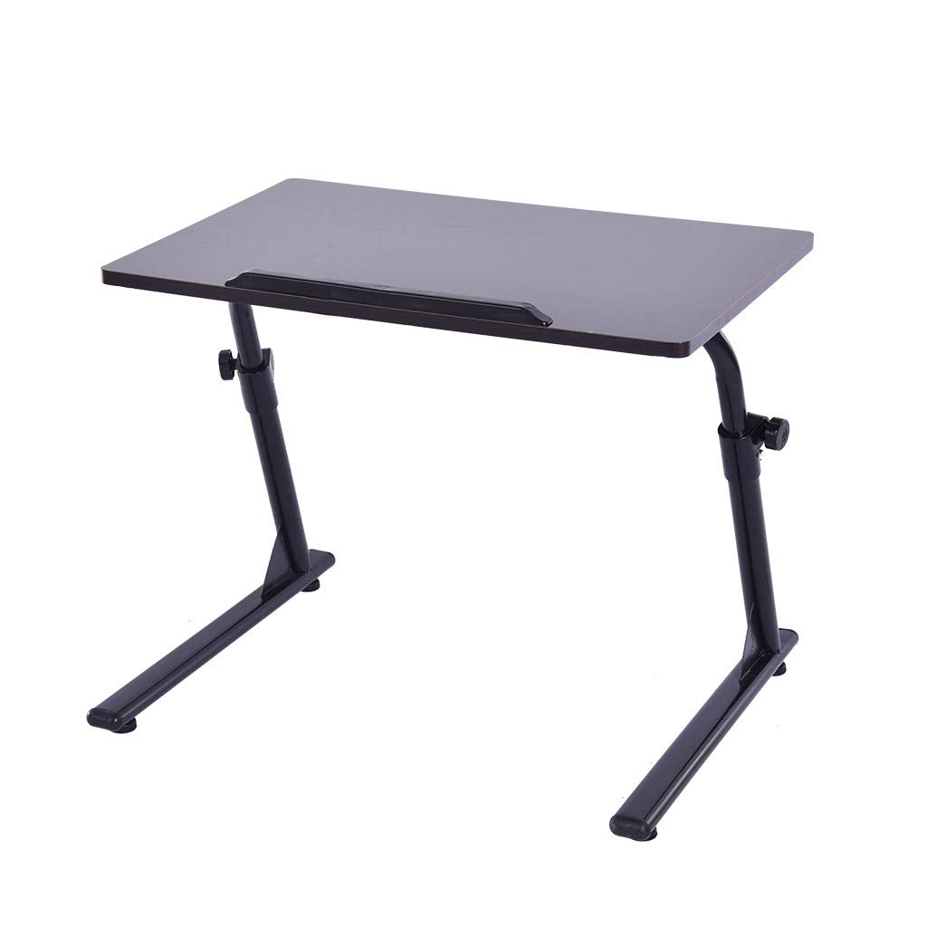 Simple Computer Tablets,Fangoog Household Height Adjustable Laptop Desk with Tray, Writing Study Desk, Folding TV Table Desktop for Home Office Brown Notebook Desk, 23.6x15.7x16.9Inch (Black)