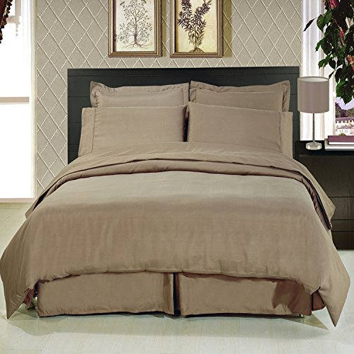 ''Fit for Royalty'' wrinkle free Calking Bed in a Bag set; Silky soft microfiber for a rich slumber; Crisp Taupe color for any room reno style