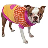 PET LIFE 'Lovable-Bark' Heavy Knitted Ribbed Fashion Designer Pet Dog Sweater, Large, Pink, Orange, White and Yellow