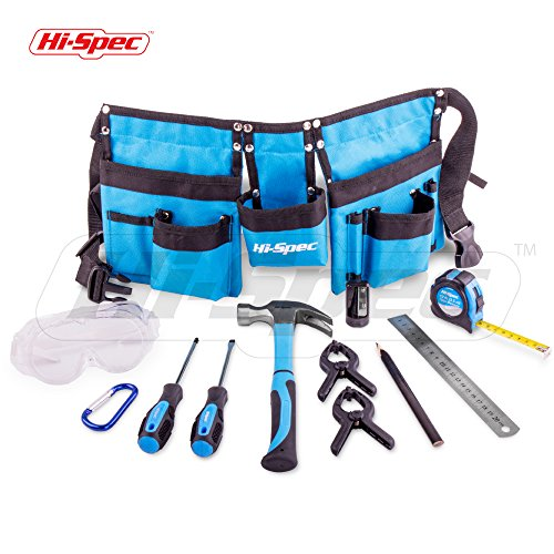 Hi-Spec 12 Piece Young Builders Tool Set & Tool Belt with REAL Hand Tools, Accessories, Eye Protection & Tool Pouch (Waists 27+) for Home DIY, Carpentry and Woodworking Projects (Blue) - Great Gift
