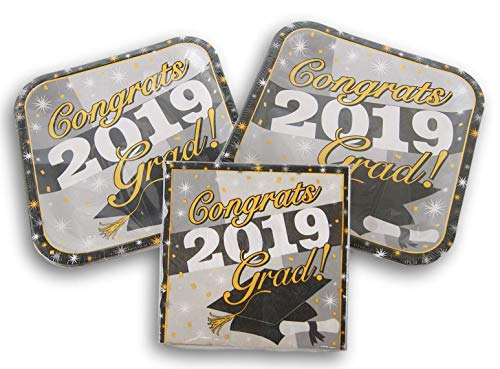 (Gray and Gold 2019 Graduation Party Supply Kit - (24) Dinner Plates and (18))