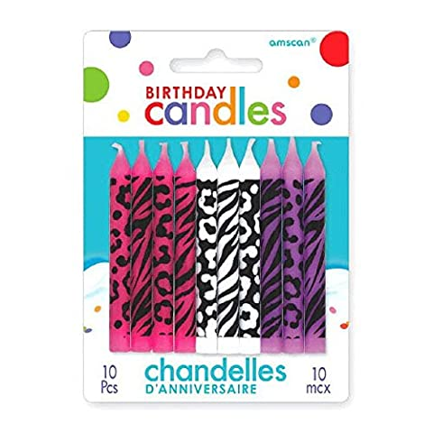 Party Time Animal Prints Novelty Birthday Candles, Pink,White,Purple , 2.5
