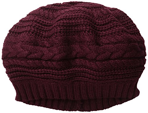 Scala Women's Textured Slouch Beret, Wine, One Size