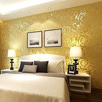 qihang gold yellow netherland victorian damaskembossed