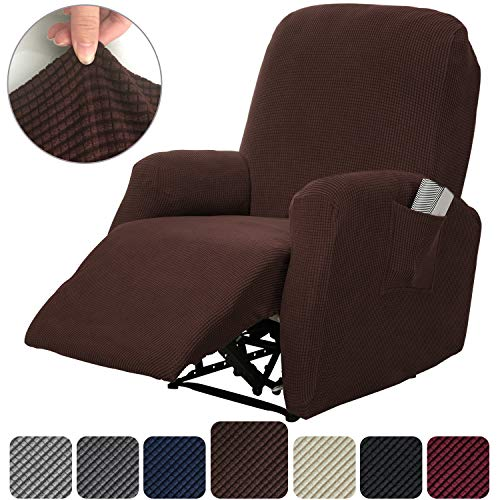 Rose Home Fashion RHF 4 Separate Piece Stretch Recliner Slipcovers, Recliner Chair Cover, Recliner Cover Furniture Protector Elastic Bottom, Recliner Slipcover with Side Pocket (Chocolate-Recliner)