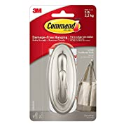 Command Traditional Medium Plastic Hooks, Brushed Nickel, 3-Hook