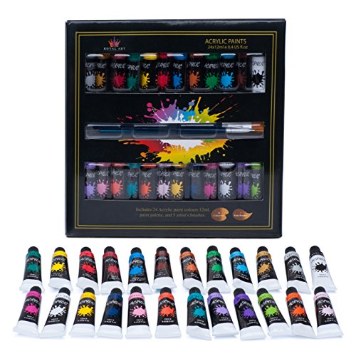 Acrylic paint 24 set by Royal Art Perfect for canvas,wood,ceramic,fabric & crafts.Non toxic & Vibrant colors.Rich Pigments With Lasting Quality-Great For Beginners,Students & Professional Artist by Royal Art