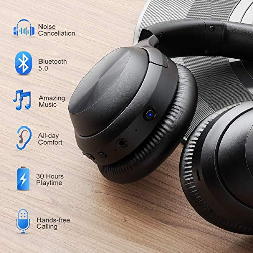 Active Noise Cancelling Headphones, iTeknic [Upgraded] Bluetooth Headphones with Microphone Deep Bass Wireless…