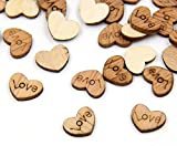 100 Pcs Love Heart Shape Wedding Confetti Wood Sewing Appointment Wedding Party Table Decoration