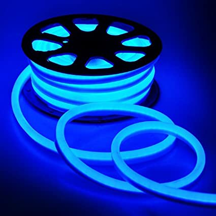 amazon com led neon rope light 50ft blue for outdoor or decorative