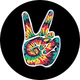 Peace Sign Hand on Black Spare Tire Cover for 175/80R13 Jeep RV Camper and more (Select from popular sizes in drop down menu or contact us-ALL SIZES AVAILABLE) …