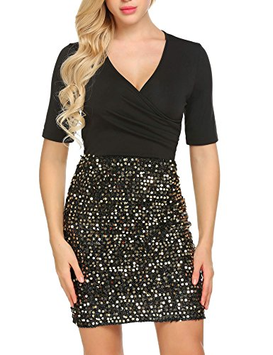 ANGVNS Womens Ruched Bodycon Stretchy