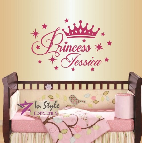 Wall Vinyl Decal Home Decor Art Sticker Princess Crown Stars Girl Baby Bedroom Nursery Room Removable Stylish Mural Unique Design