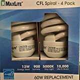 MaxLite 13W=60W CFL Spiral Compact Fluorescent Lamp Day Light 4 Pack Bulbs