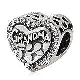 925 Sterling Silver Love Grandma Charm Heart Charm Birthday Charm Anniversary Charm for Pandora Charms Bracelet
