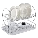 POPILION Quality Kitchen Sink Side Antimicrobial Draining Two Tier Dish Drying Racks,Double-Deck White Dish Racks,Dish Drainer with DrainBoard