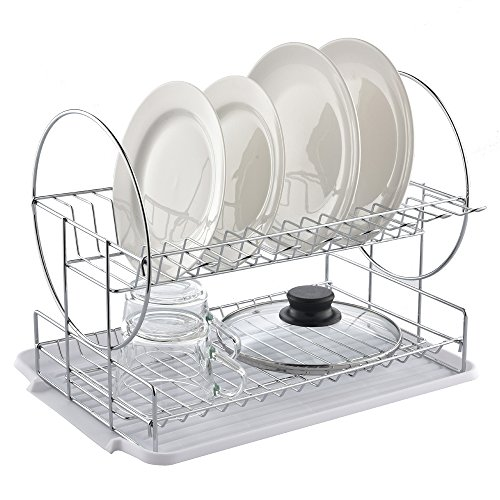 Best Commercial Steel Rust Proof Kitchen In Sink Two Tier Dish Drying Rack, Chrome Dish Drainer With White Drainboard