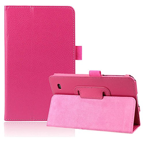 Coromose Stand Folio Leather Cover Case For LG G Pad 7.0 V400 (Hot Pink)
