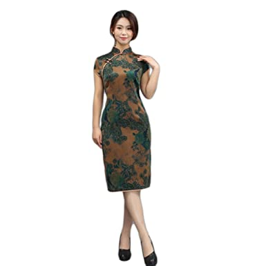 c8d2b06e09923 Amazon.com  High-end Cheongsam Retro Dress Chinese National Style Mulberry  Silk Gambiered Guangdong Silk  Clothing