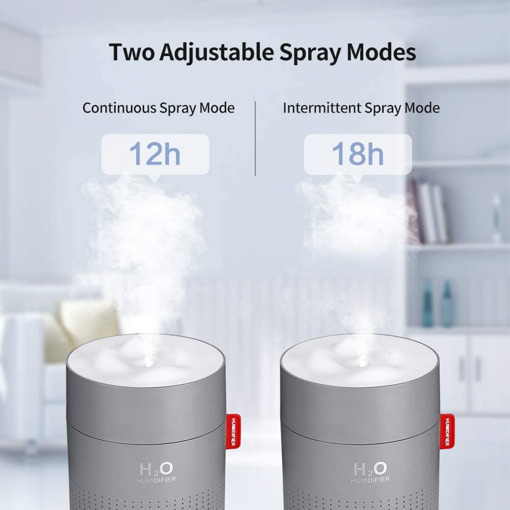 Snow Mountain H2O USB Humidifier Grey Cool Mist Office Home Kitchen Table Small Cute
