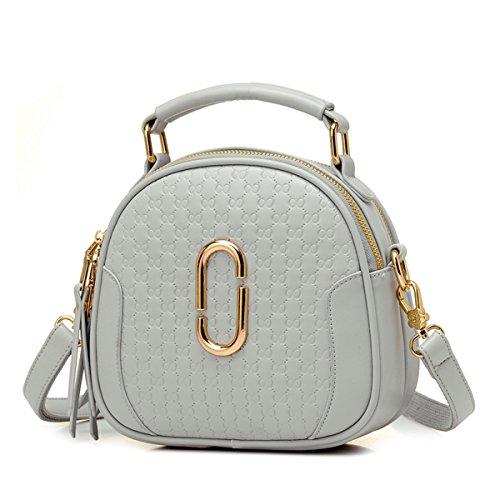 La moda señoras bolso Bolso Bolso shell casual oblicua mano spike, gris