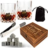 Soapstone Whiskey Stones Glasses Set – 13 in 1 – Best Scotch Whiskey Gift Set with 8 Soapstone Chilling Stones – 2 Crystal Whiskey Glasses and Anti-slip Tongs - Cool Whiskey Bar Set for Men Women